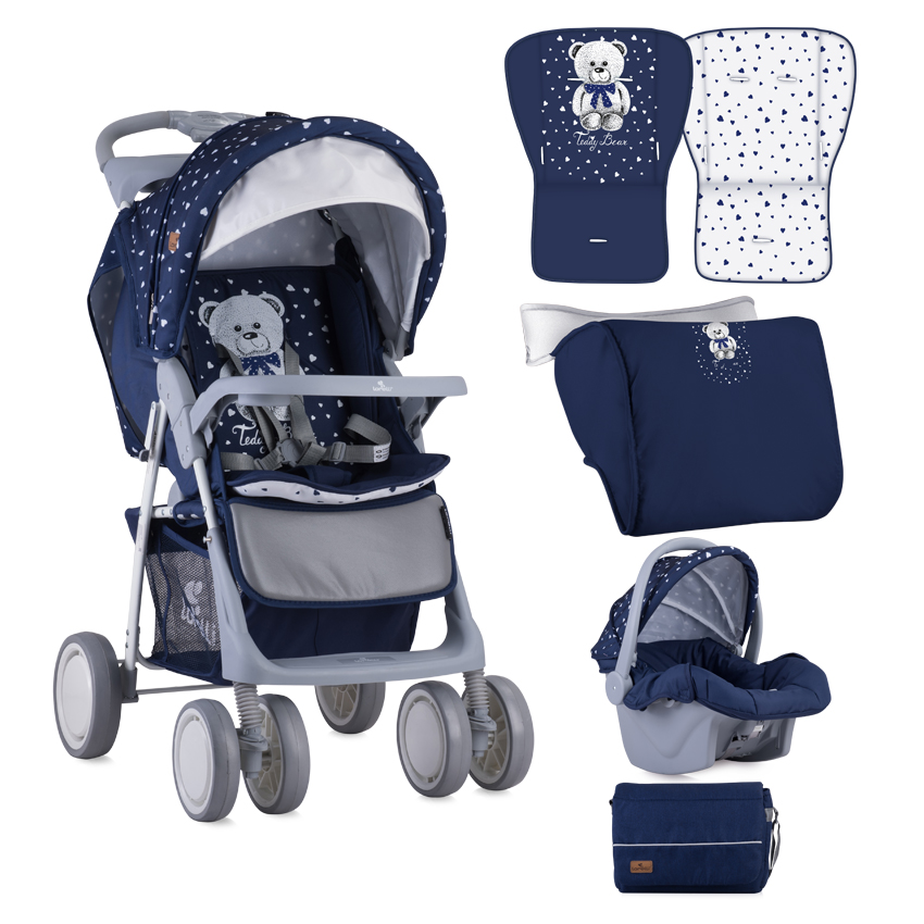 Kočárek FOXY SET DARK BLUE TEDDY