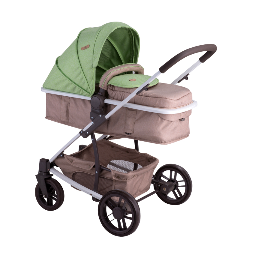 Combi Stroller S500 SET With Newborn Basket GREENu0026BEIGE