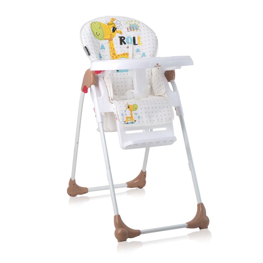 Jídelní židlička OLIVER WHITE&BEIGE GIRAFFE