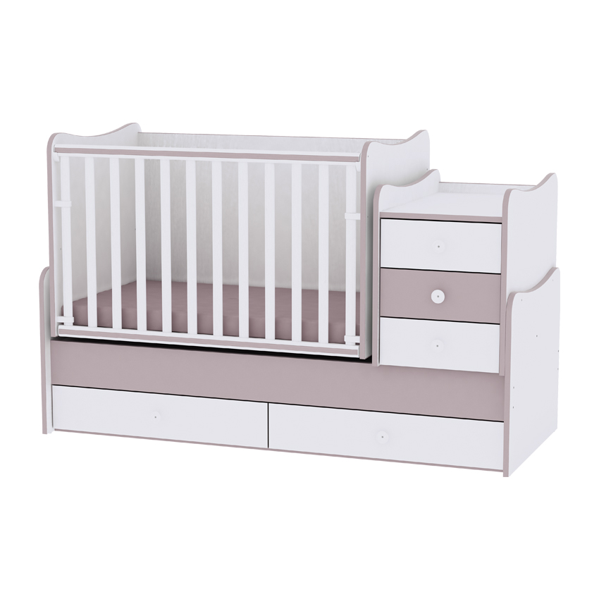 Dětská postýlka MAXI PLUS NEW 70/160 WHITE&CAPPUCCINO