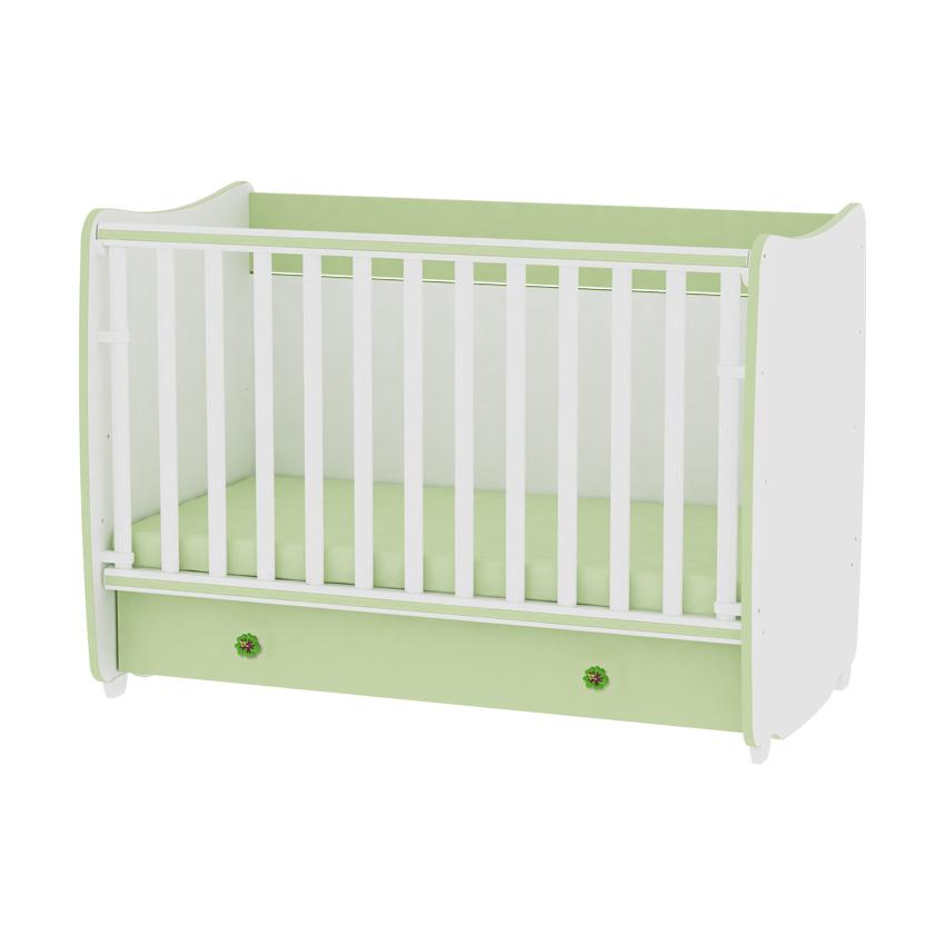 Dětská postýlka DREAM NEW 60/120 COLOUR WHITE/GREEN
